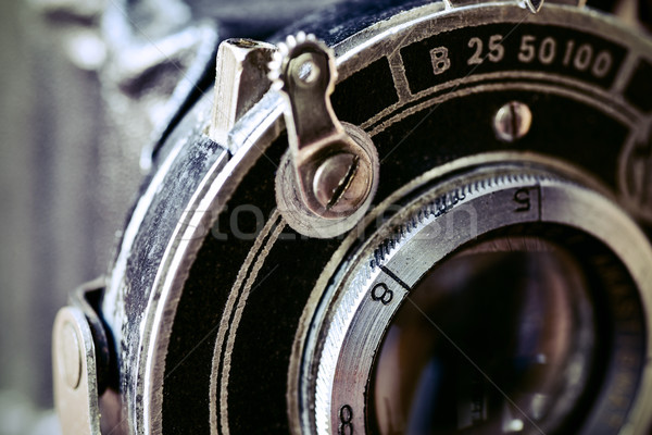 lens of an old folding camera Stock photo © nito