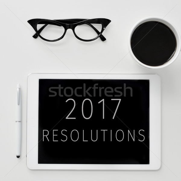 text 2017 resolutions in a tablet Stock photo © nito