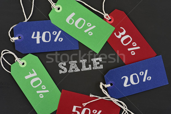 text sale and labels with different percentages Stock photo © nito