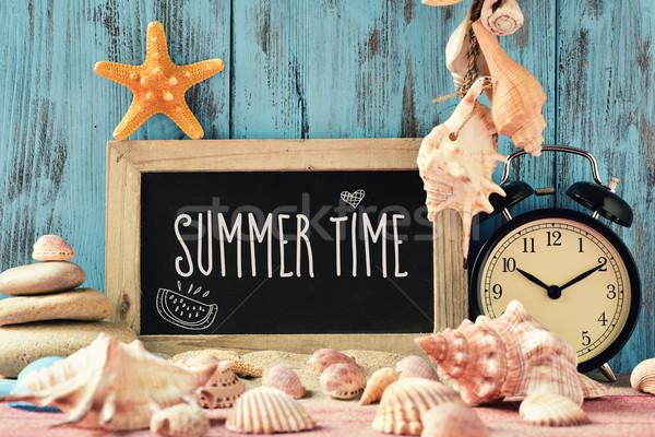 Szöveg nyár idő tábla közelkép ébresztőóra Stock fotó © nito