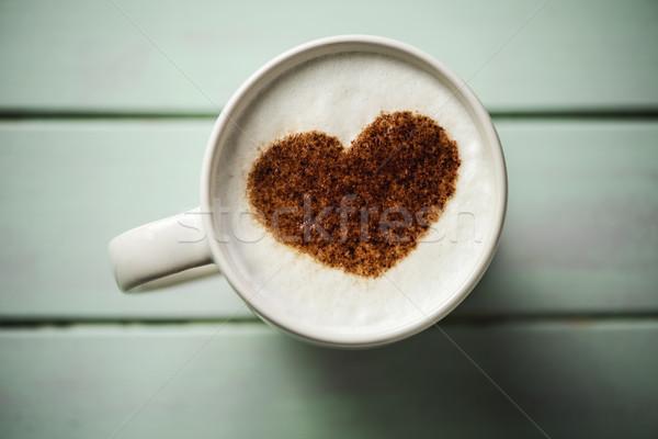 Tasse cappuccino coeur coup blanche céramique Photo stock © nito