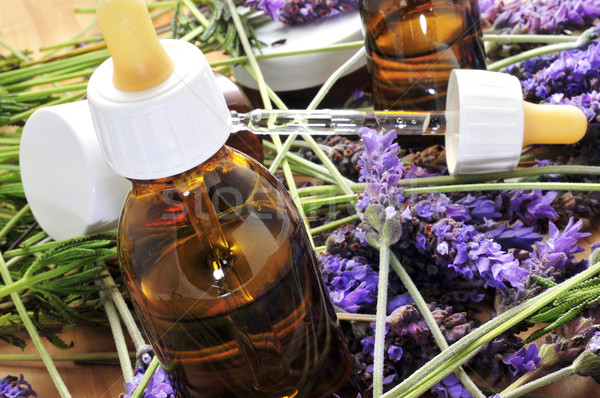 Stock photo: aromatherapy oil and lavender flowers