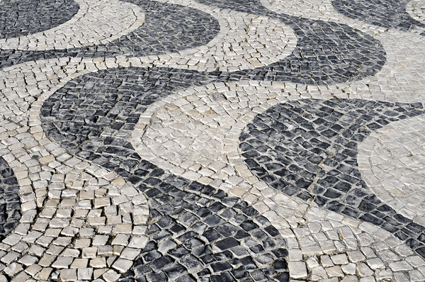 waves patterned portuguese pavement typical in Lisbon, Portugal Stock photo © nito
