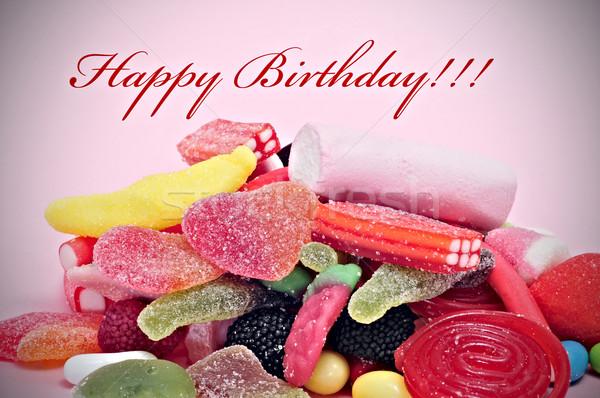 Buon compleanno scritto rosso felice Foto d'archivio © nito
