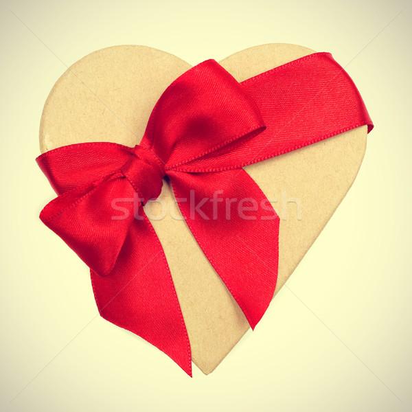 Geschenk retro effect geschenkdoos beige Stockfoto © nito