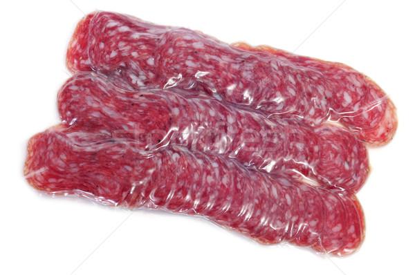 Stockfoto: Spaans · salami · witte · voedsel · achtergrond