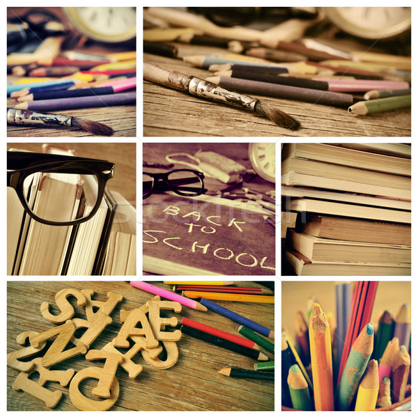 collage of pictures of a classroom and the text back to school Stock photo © nito