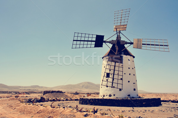 old windmill in Fuerteventura, Spain, filtered Stock photo © nito