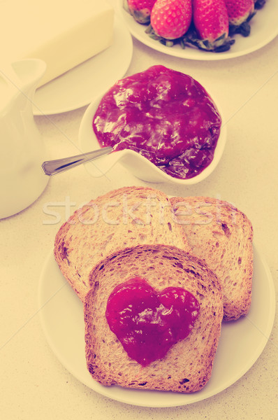 heart of jam on a toast, filtered Stock photo © nito
