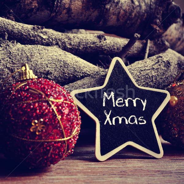 text merry xmas in a star-shaped blackboard, filtered Stock photo © nito