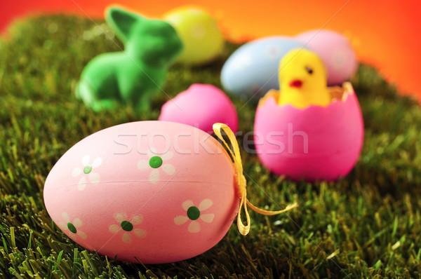 Ingericht eieren Pasen konijn speelgoed chick Stockfoto © nito