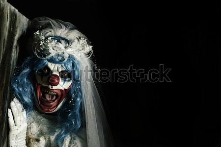 Stockfoto: Scary · kwaad · clown · mes · groot · hand