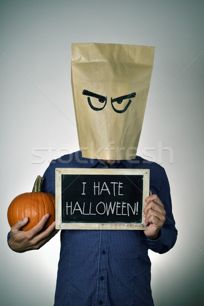 young man who hates Halloween Stock photo © nito