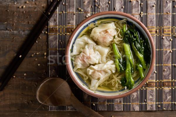 Gamberetti zuppa somma shot ciotola Foto d'archivio © nito