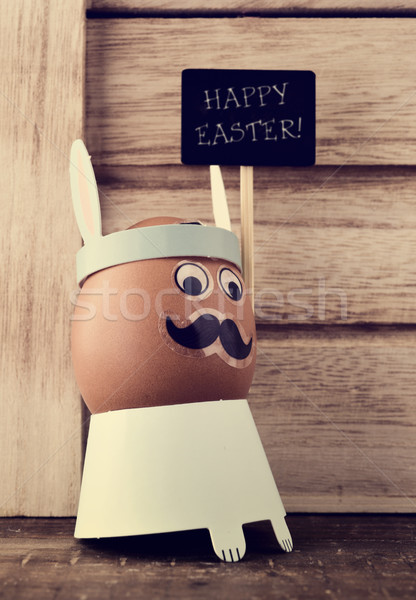 text happy easter and decorated egg Stock photo © nito