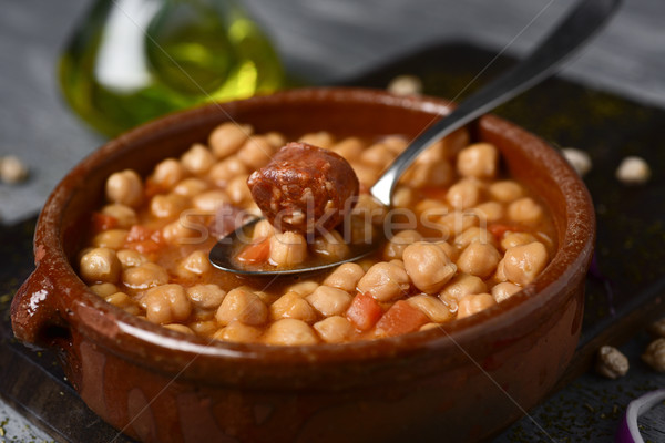 potaje de garbanzos, spanish chickpeas stew Stock photo © nito