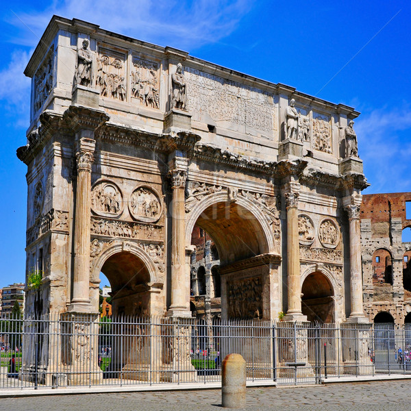 The Arch of Constantine and the Coliseum in Rome, Italy Stock photo © nito