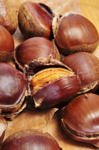 roasted chestnuts, typical snack in All Saints Day in Spain Stock photo © nito