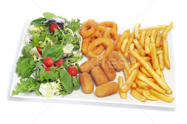 spanish combo platter with salad, croquettes, calamares and fren Stock photo © nito