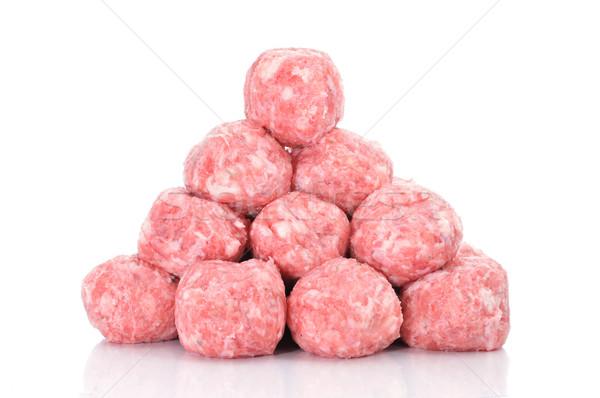 Ruw gehaktballetjes witte achtergrond keuken Stockfoto © nito
