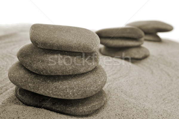 Zrównoważony kamienie zen ogród miłości relaks Zdjęcia stock © nito