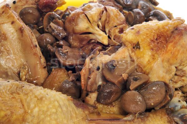 Pieczony kurczak naczyń grzyby kurczaka tablicy Zdjęcia stock © nito