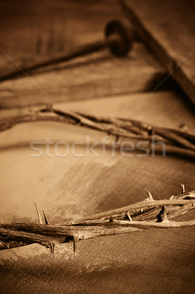 crown of thorns, cross and nails Stock photo © nito