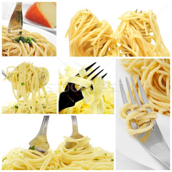 long pasta collage Stock photo © nito