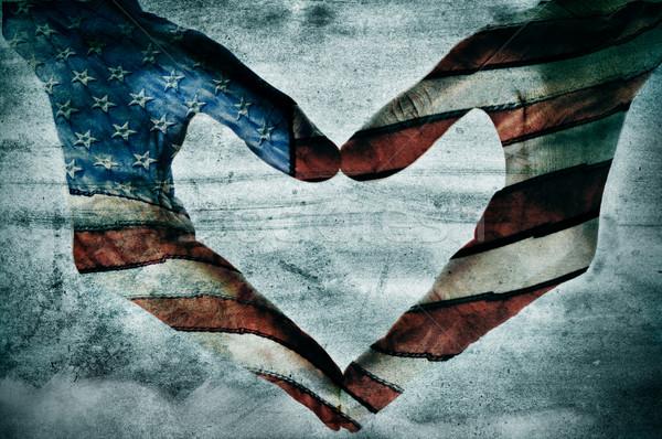 Amour Amérique homme mains peint drapeau américain Photo stock © nito