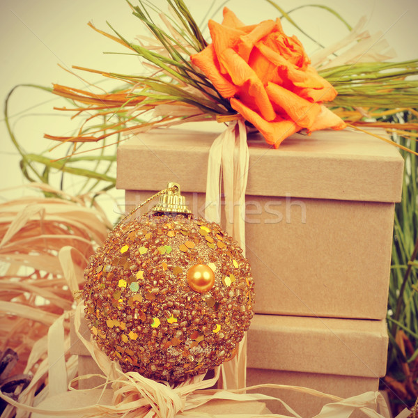 gifts decorated with natual ornaments and christmas ball, with r Stock photo © nito