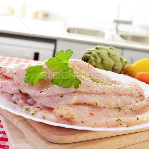 Greggio Turchia carne marinato olio d'oliva pepe Foto d'archivio © nito