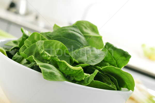 raw spinach leaves on the countertop of a kitchen Stock photo © nito