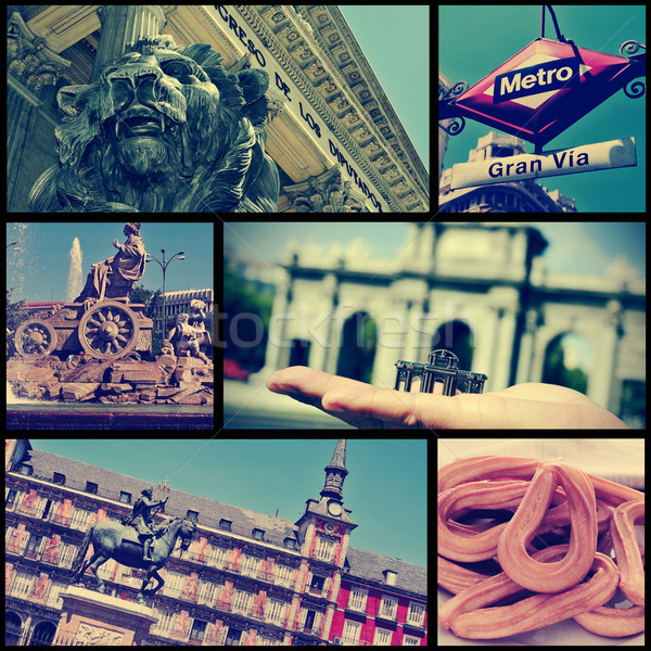 collage of different landmarks in Madrid, Spain, cross processed Stock photo © nito