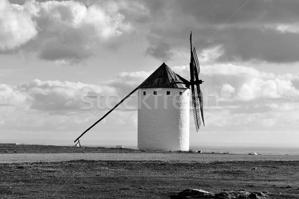 old windmill in Campo de Criptana, Spain, black and white Stock photo © nito