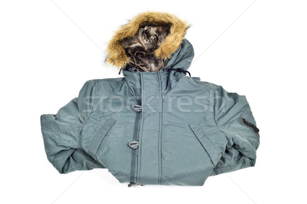 green parka with a fur lined hood Stock photo © nito