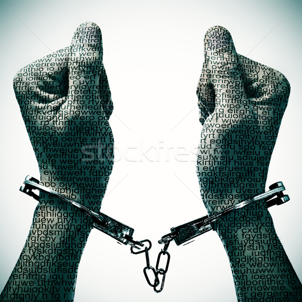 man with handcuffs in his wrists Stock photo © nito