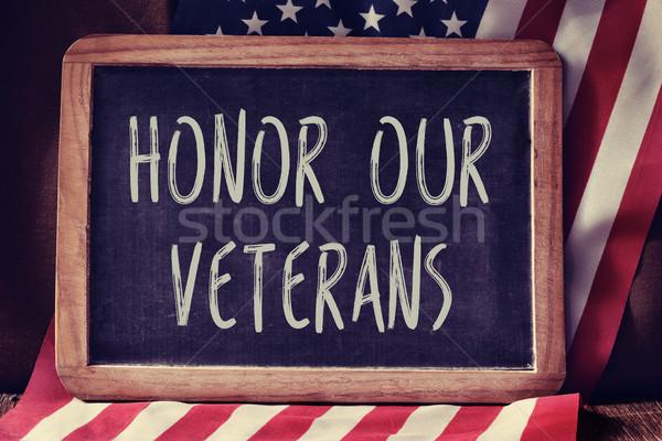 Testo onorare bandiera lavagna Stati Uniti segno Foto d'archivio © nito