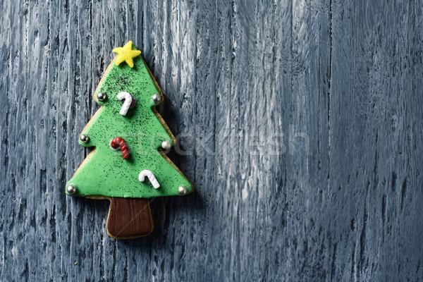 Foto stock: Natal · bolinhos · forma · árvore · de · natal · tiro · cinza