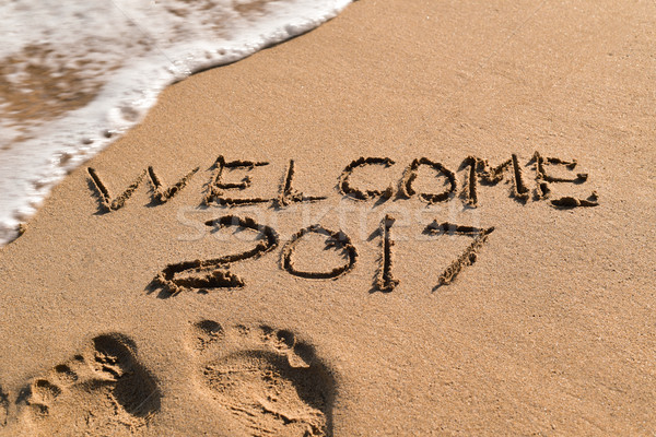 text welcome 2017 in the sand of a beach Stock photo © nito
