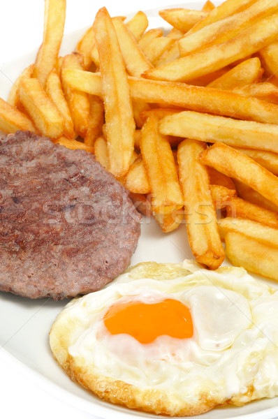 combo platter with fried egg, burger and french fries Stock photo © nito