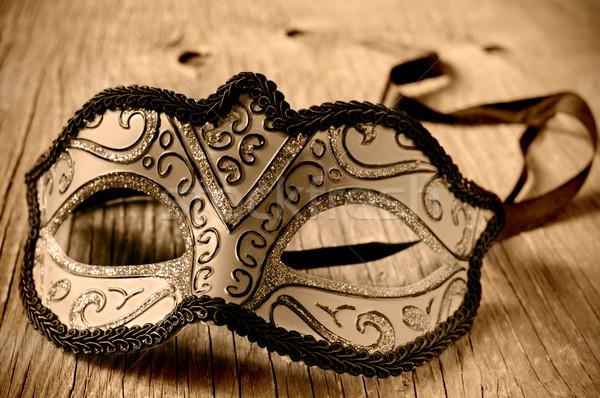 Stockfoto: Carnaval · masker · houten · oppervlak · sepia · rustiek