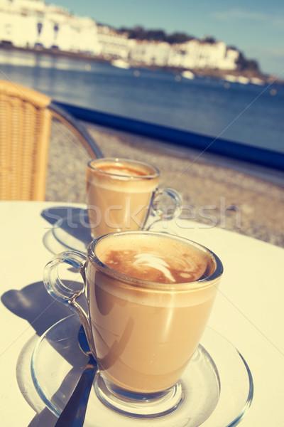 caffe macchiato in the seafront of Cadaques, Spain Stock photo © nito