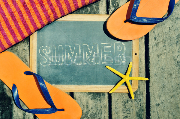 flip-flops, starfish and chalkboard with the word summer Stock photo © nito