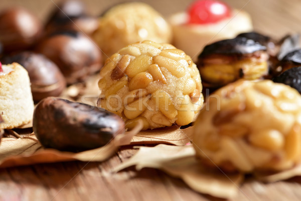 roasted chestnuts and panellets, typical snack in All Saints Day Stock photo © nito