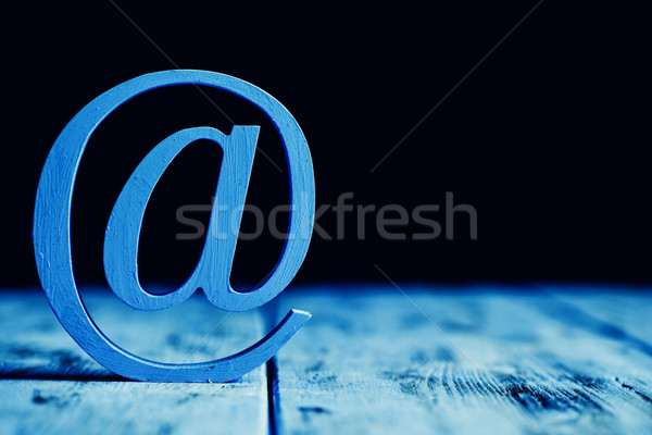 Felirat fából készült felület kék háromdimenziós fekete Stock fotó © nito