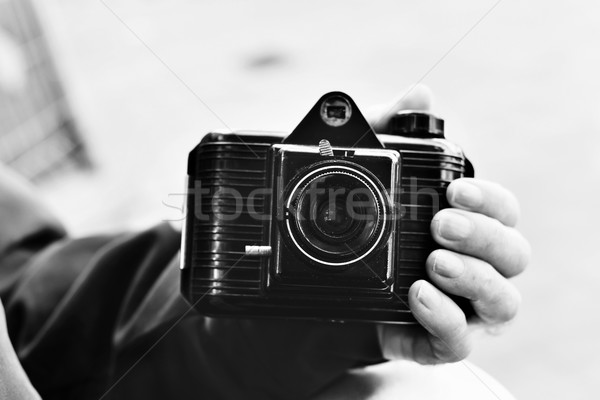 old man with an old camera, black and white Stock photo © nito
