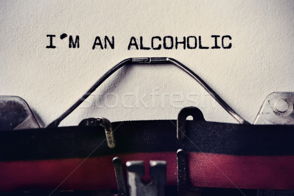 Stock photo: typewriter and text I am an alcoholic