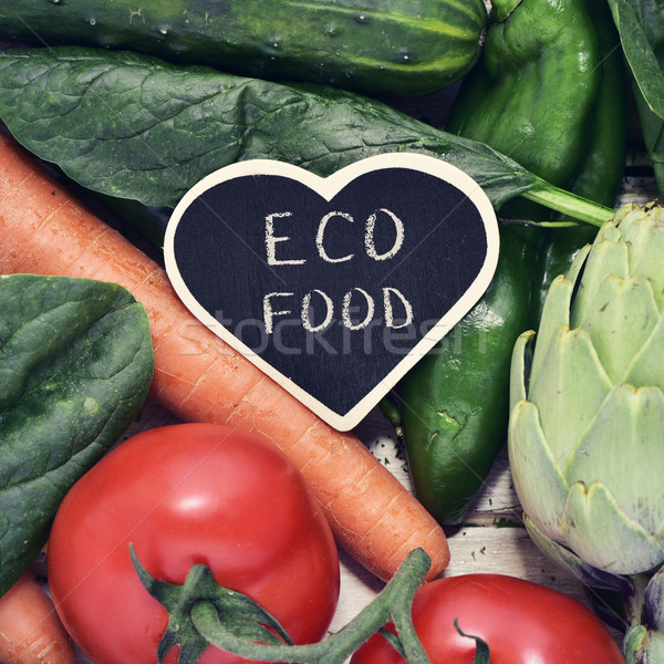 raw vegetables and text eco food Stock photo © nito
