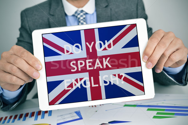 Stock photo: question do you speak English? in a tablet computer
