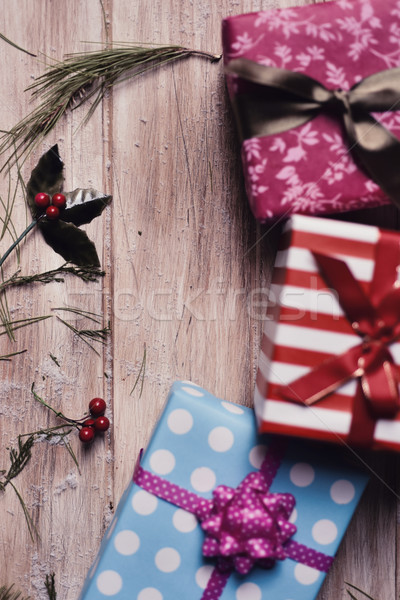 christmas gifts on a wooden surface Stock photo © nito